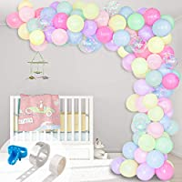 ‏‪Whaline Macaron Balloon Arch & Garland Kit, 100Pcs Assorted Macaron Candy Colored and Confetti Latex Balloons with 1pcs Tying Tool, Balloon Strip Tape and Glue Point for Wedding Birthday Party Decor‬‏