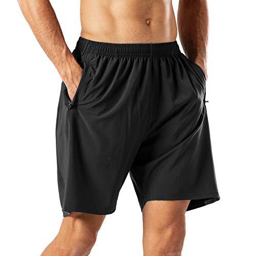 Herren Sport Shorts Schnell Trocknend Kurze Hose mit Reißverschlusstasch(Schwarz,3XL)