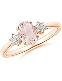 Tapered Oval Morganite Solitaire Ring with Diamond Clusters (7x5mm Morganite)