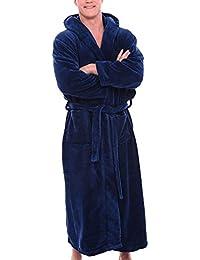 2d6a76c651dd8 Keepwin Hommes À Capuche Blottir Peignoir Robe De Chambre Polaire Douce  Peignoir de Bain Longue Hiver