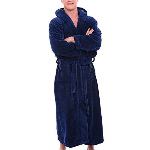 Ears Herren Pyjamas Winter Plüsch verlängert Schal Bademantel Startseite Kleidung langärmelige Robe Mantel Schlafanzug Langarm Sweatshirt Freizeit Strickjacke V-Ausschnitt Bluse Pullover - 2 Stück Fleece-schlafanzug