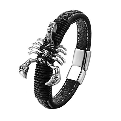 Armband Armreif, Schmuckgeschenk,Xiong Hang Brand Mens Bracelets Punk Leather Scorpion Bracelets Bangles Magnet Buckle Bracelet Men Jewelry 21cm