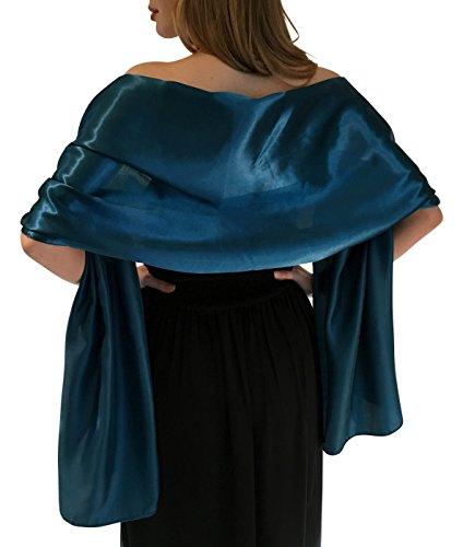 Silky satin stola dell'involucro dello scialle sciarpa pashmina per la sposa damigelle in avorio bianco nero blu argento oro rosa grigio verde (s-m, teal)