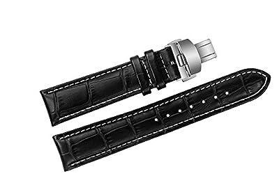 20mm de lujo negro correas de reloj de cuero de reemplazo / bandas cocodrilo grano hecho a mano con costuras en contraste blanco