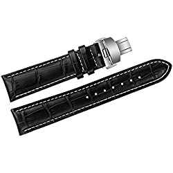 24mm Black Luxury Replacement Leather Watch Straps/Bands Handmade with White Stitching for High-end Brands