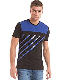 Flying Machine Men's Black & Blue Print Half Sleeve Round Neck Tee