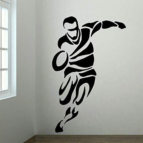 Kleine Jungen Rugby (Fagreters Wandtattoos für Jungen und Mädchen Rugby Player Schlafzimmer Wandkunst Transfer Aufkleber Vinyl Aufkleber 90X55 Cm)
