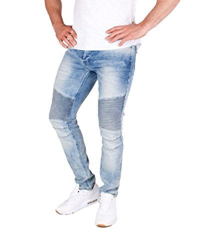 Herren Biker Slim Fit Skinny Jeans destroyed used look, Denim Knieabsteppungen Hellblau