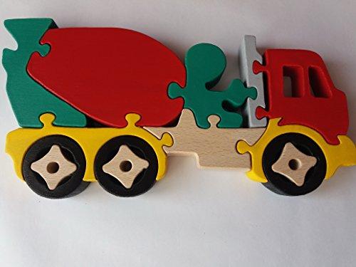 Holzpuzzle LKW handgemachte Betonmischer Maschine massivem Buchenholz Spielzeug Nutzfahrzeug Geschenk für Jungen aus Holz Autotransporter (Spielzeug-betonmischer Für Jungen)