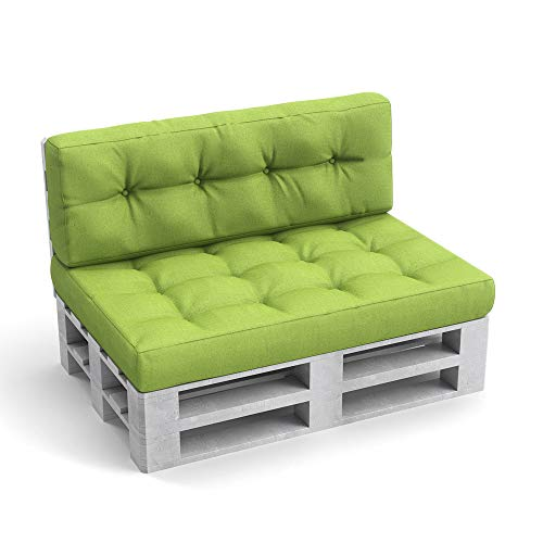 Vicco Palettenkissen Palettensofa Palettenpolster Kissen Polster Lehne (Set: Sitz-&Rückenkissen Set, Grün) -