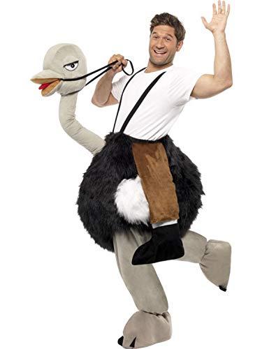 Luxuspiraten - Herren Männer Kostüm Huckepack Mann auf Strauß, Piggyback Riding Ostrich, perfekt für Weihnachten Karneval und Fasching, One Size, Grau