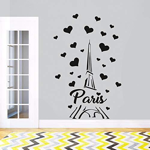 jiuyaomai Paris France Tour Sticker Amour Coeur Conception Wall Sticker Home Bedroom Decor Romantique Paris Papier Peint Vinyle Mur Art Un Blanc 57x88 cm