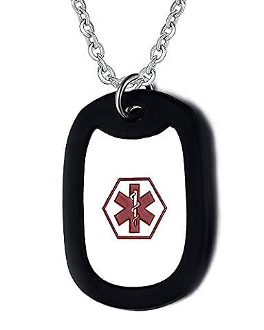 Vnox Edelstahl Medical Alert ID Tag Halskette Anhänger für Männer und Frauen mit freier Kette,kostenlosen Gravur