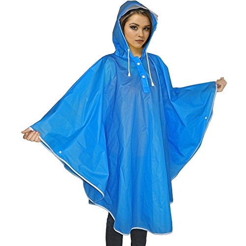 Damen Regenponcho, Transparent EVA Regenmantel Motorad Regenumhang Regenjacke Trenchcoat Parka Regenkleidung Raincoat Fahrrad Regencape 100% Wasserdic, Blau