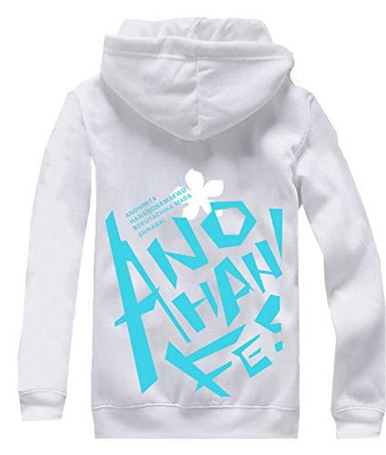 Kostüm Cosplay Anohana - Cosstars Anime Anohana Hoodie Jacket Cosplay Kostüm Zipper Pullover Jacke Outwear Sweatshirt Mantel Weiß-1 XL
