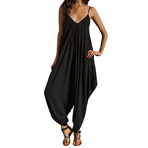 Jumpsuit Femme Soiree - BienBien Sexy Combinaison Pantalons Ete Col V Taillé Sans Manche Playsuit Rompers Barboteuse Noir