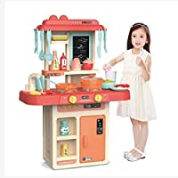 ARHA IINTERNATIONAL Kids 36-Piece Kitchen Playset, with Realistic Lights & Sounds, Play Sink with Running Water,Dessert…