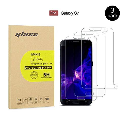 AMNIE [3 Stück Panzerglas Bildschirmschutzfolie nur für Samsung Galaxy S7, 9H Härte, HD, Anti-Kratzen, Anti-Öl, Anti-Bläschen, Panzerglasfolie inkompatible mit Samsung Galaxy - S7