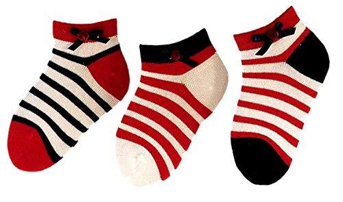 Unbekannt Baby Kinder Ringel sneaker 3er Pack Socken, Größe:17/18 bzw. 74/80, Farben alle:Ringel mit Schleife