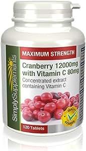 Mirtillo Rosso 12000mg + Vitamina C 80mg 120 Compresse -Protegge il tratto urinario e sostiene le difese immunitarie- Adatto ai Vegetariani