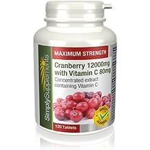 Arándanos Rojos 12000 mg + Vitamina C 80 mg   120 comprimidos  Para el tracto urinario y el sistema inmune  