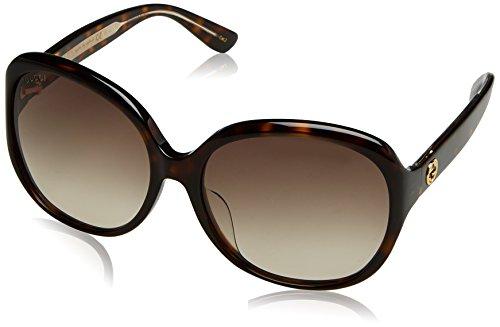 Gucci Damen GG0080SK 003 Sonnenbrille, Braun (Avana/Brown), 61
