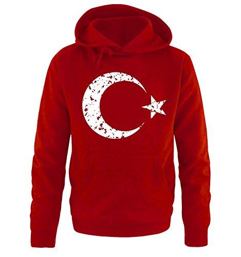 Comedy-Shirts EM 2016 - Türkei - Wappen - Vintage - Herren Hoodie - Rot/Weiss Gr. S