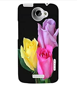 ColourCraft Rose Flowers Design Back Case Cover for HTC ONE X