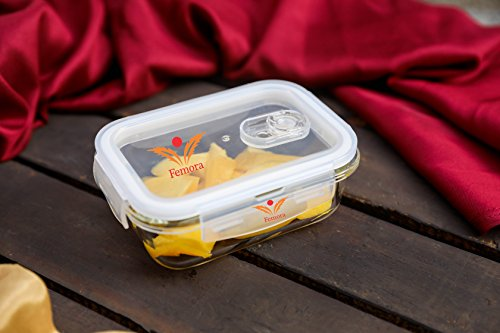 Femora Borosilicate Rectangular Glass Food Storage Container with Air Vent Lid, Microwave Safe, Air Tight, Leak Resistant- 1 Year Warranty