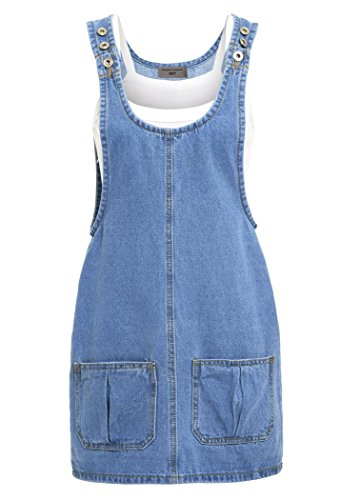 SS7 New Women's Denim Pinafore Dress, Blue, Sizes 6 to 16