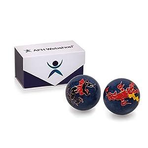 Meditation Qi-Gong-Kugel Paar mit Klangwerk | Klangkugeln | Yin Yan | Design DRACHE UND VOGEL | mit hochwertiger und wiederverschließbaren Aufbewahrung Magnetbox