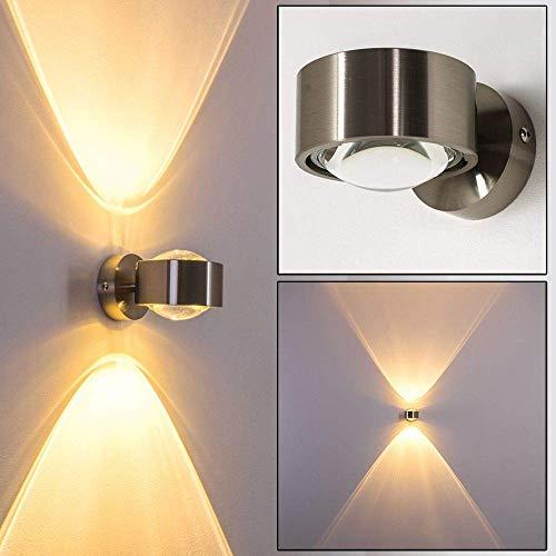 Wandlampe geradlinig - Effektlampe mit zwei gegenüberliegenden Licht-Kegeln - verchromte Metall-Leuchte für das Wohnzimmer - das Esszimmer oder die Küche mit hochwertigem Glas-Schirm