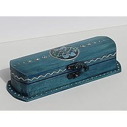 """DOLPHINS & DOVES Brillen Box""""Dolphin Love"""" Kästchen Brillenetui Utensil Schreibtisch Stifte Holz jeans blau Delphine martitim"""
