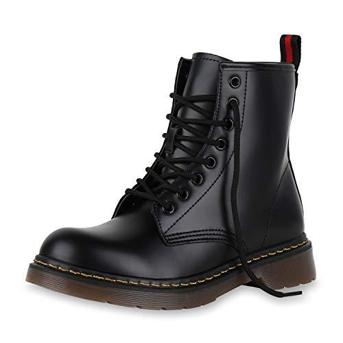 SCARPE VITA Damen Stiefeletten Worker Boots Leicht Gefütterte Outdoor Schuhe 174242 Schwarz Gelb 37