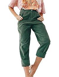 Hibote Pantalon en Velours côtelé pour Femme avec Cordon de Serrage pour  Dames Casual Automne Hiver baf5f0717ad