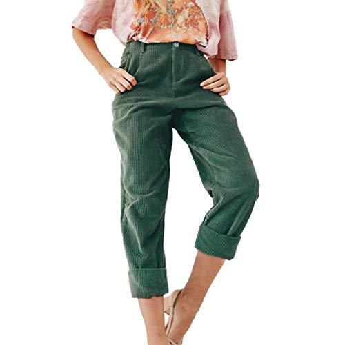 Hibote Cordhose für Frau Kordelzug Damen Casual Herbst Winter Hosen Hosen in voller Länge gerade Bein Bottoms