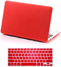 CABLESETC™ Matte SeeThru Hard Shell Case Cover For (Apple Macbook Air 13.3 A1466 A1369, Red)