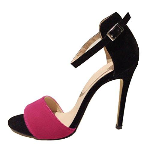 HooH Femmes Contraste Couleur Peep toe Sandales Stiletto Escarpins Rose Rouge