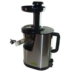 CARBEL - Extracteur de jus - CGX-001 - Extracteur lent de jus de fruits, légumes, herbes. INOX. Avec 3 filtres, livre de recettes en français et bouchon de sortie des jus.