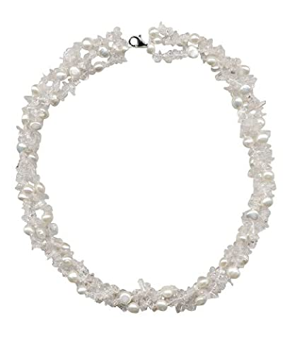 3 Row Freshwater Pearl & Stones Twist Necklace - Sterling Silver Trigger Clasp 16inch 42cm