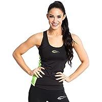 SMILODOX Sport Tank Top Mujer | Camiseta de entrenamiento ideal para Gym fitness y entrenamiento | Deportes sin mangas T-Shirt - Corte cómodo - Deptoporte - Camiseta - Techo del tanque, Size:S, Color:Negro Neón Verde