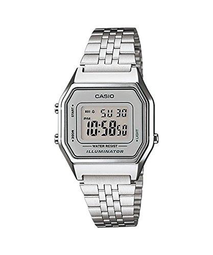 Casio Damen Digital mit Edelstahl Armbanduhr LA680WA 7D Digital Illuminator