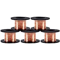 5 Rollos de 0.1 mm en Diámetro Cobre Alambre esmaltado Alambre de cobre esmaltado Alambre de