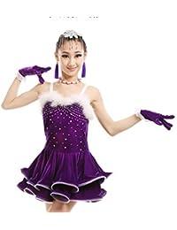 ZYLL Le Ragazze gonne di Ballo Latino Costumi di Velluto Diamante  Concorrenza Concorso Professionale per Le Donne di Abbigliamento… 5bc5e01231f