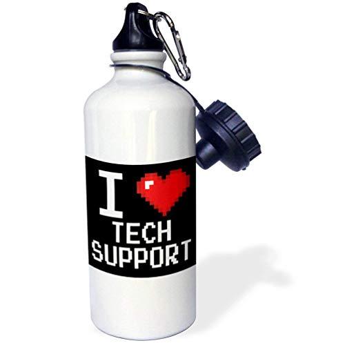 qidushop Geeky Old School Pixelated Pixels 8 Bit I Heart I Love Tech Support Weiß Lustige Edelstahl-Sport-Trinkflasche für Damen Herren Kinder 535 ml (Geeky Geschenke Für Mädchen)