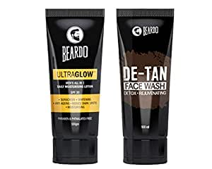 Beardo De-Tan Face Wash, 100ml and BEARDO Ultraglow Face Lotion for Men, 100g Combo