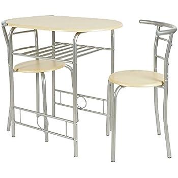 ts ideen platzsparende essgruppe 3 teilig alugestell mdf buchendekor tisch 53 x 80cm f r die. Black Bedroom Furniture Sets. Home Design Ideas
