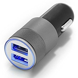 CAR CHARGER TOP QUALITY BRUSHED Aluminum Incl. Bright Blue LED Light 2 x USB Port 2.1A + 1.0A High Speed IQ Technology for all IPHONE Models, Samsung, Sony HTC NOKIA LG IPAD MP3 with 5V outputarger for Smartphone