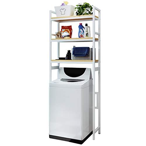 Rttzw ripiano per lavatrice cremagliera lavatrice in acciaio al carbonio quadrato balcone lavanderia mobile tamburo lavatrice scaffale superiore ripiano rack 3 strati (nero, bianco) (colore : bianca)