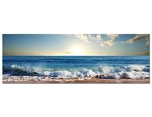 Paul Sinus Art Toile panoramique tendue sur châssis (Wave - vague) au style moderne et intemporel, 150x 50cm